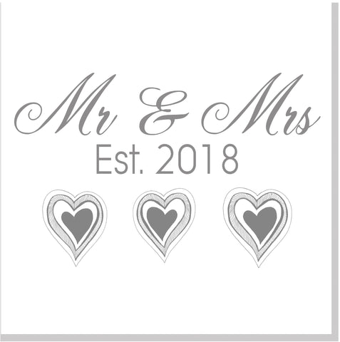 Mr & Mrs Est square card