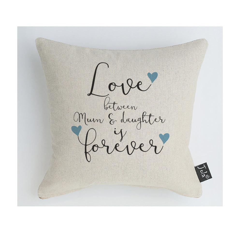 Mum & Daughter Forever blue hearts cushion