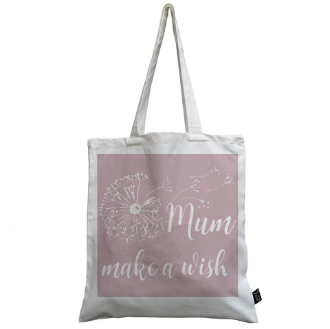 Dandelion Mum make a wish pink canvas bag