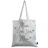 Mum moon & back blue heart canvas bag