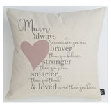 Mum Braver Cushion blue heart
