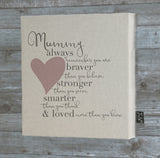 Mummy Braver blue heart Canvas Frame