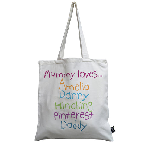 Personalised Mummy loves canvas bag