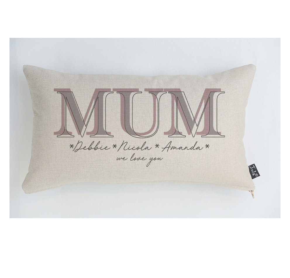 Mum with script names Personalised cushion