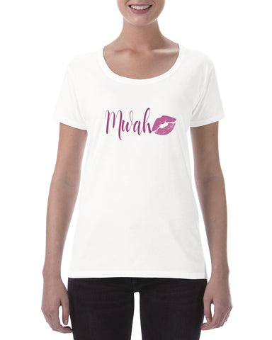 Cotton T Shirt Mwah pink lips