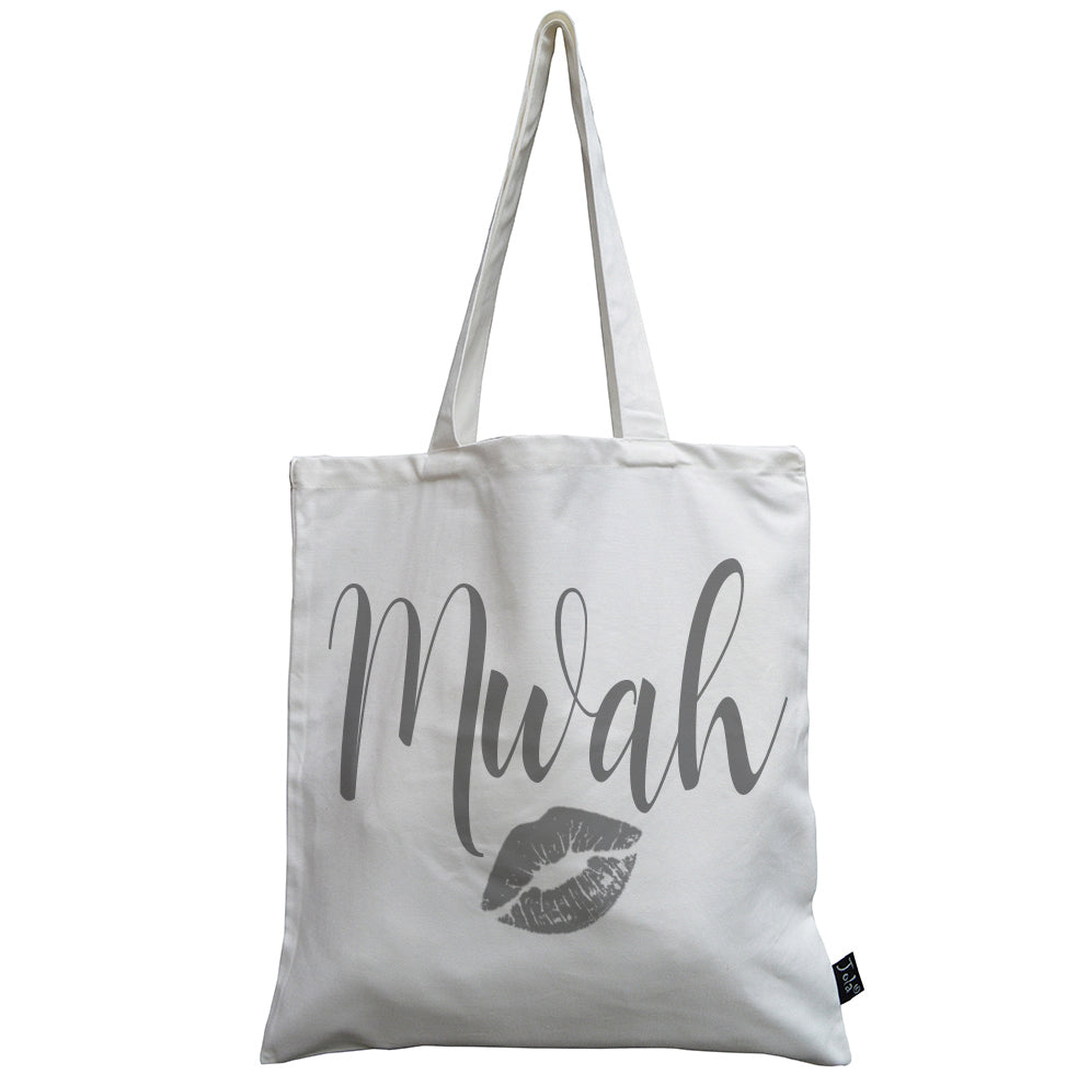 Mwah grey kiss canvas bag