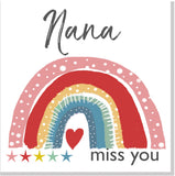 Personalised Miss you rainbow square card