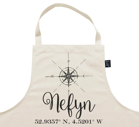 Personalised Compass & Coordinates City Apron