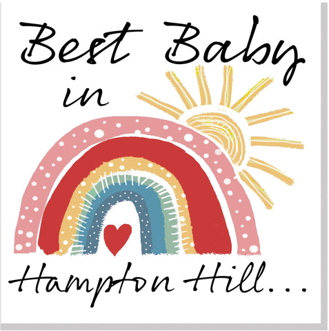 Personalised City Best Baby city rainbow card