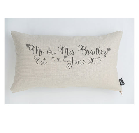 Personalised Foxwell Wedding cushion grey