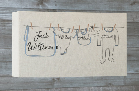 Personalised Washing line Long canvas frame
