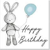 Happy Birthday Bunny Balloon square card