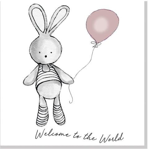 Welcome Bunny Balloon square card