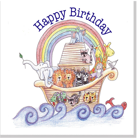 Noah's Ark Birthday square card