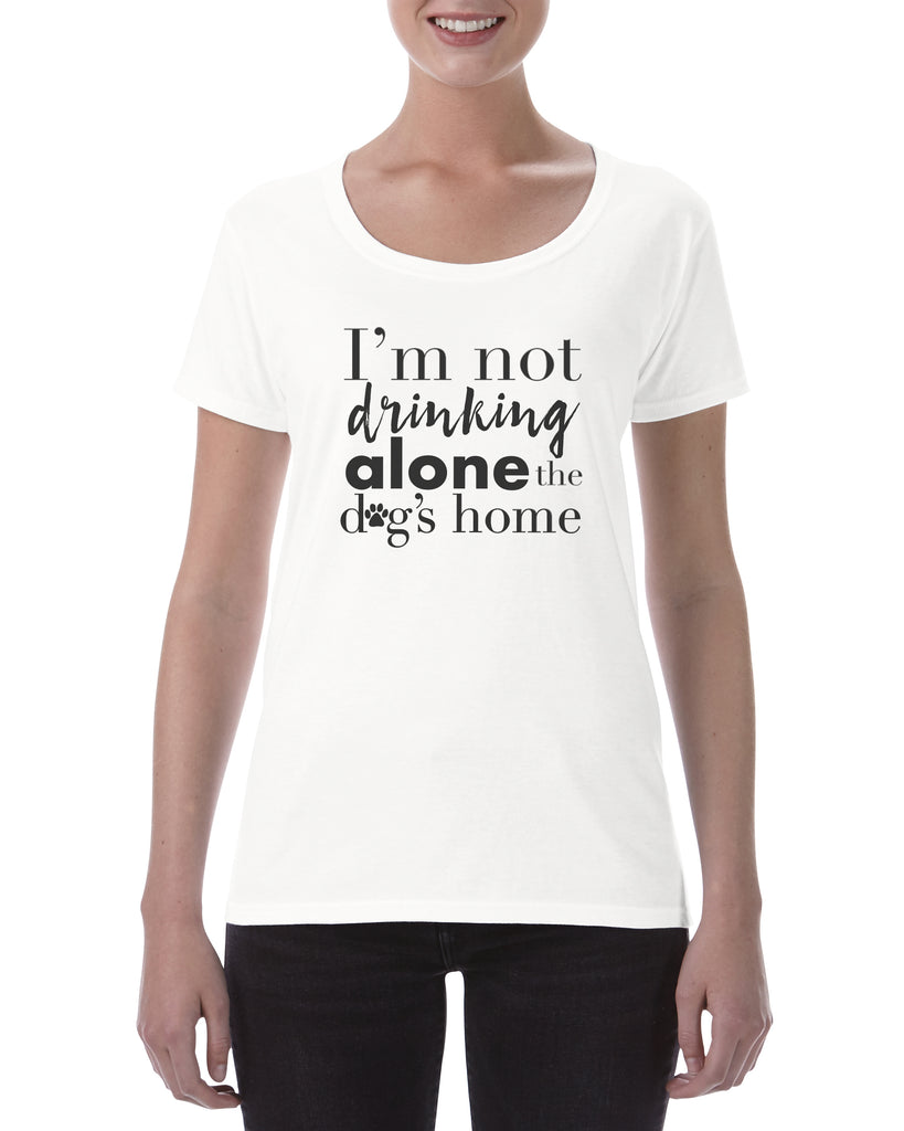 Drinking alone Dog Cotton Ladies T Shirt