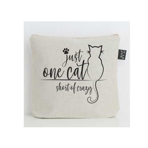One cat short of crazy wash bag