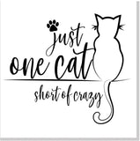 One cat short of crazy square card