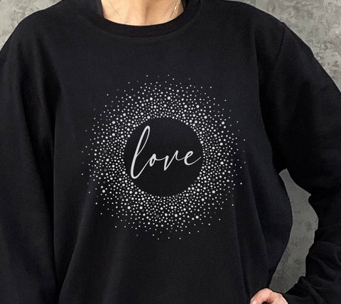 Love Spotty Oversized Cotton Mix Sweatshirt