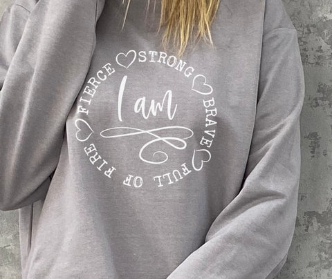 Strong Brave Oversized Cotton Mix Sweatshirt
