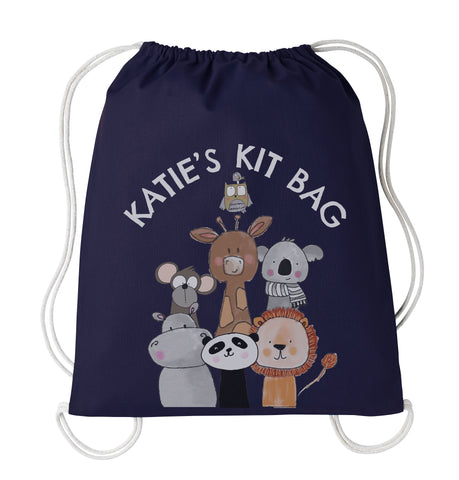 Personalised Animals Drawstring kit bag
