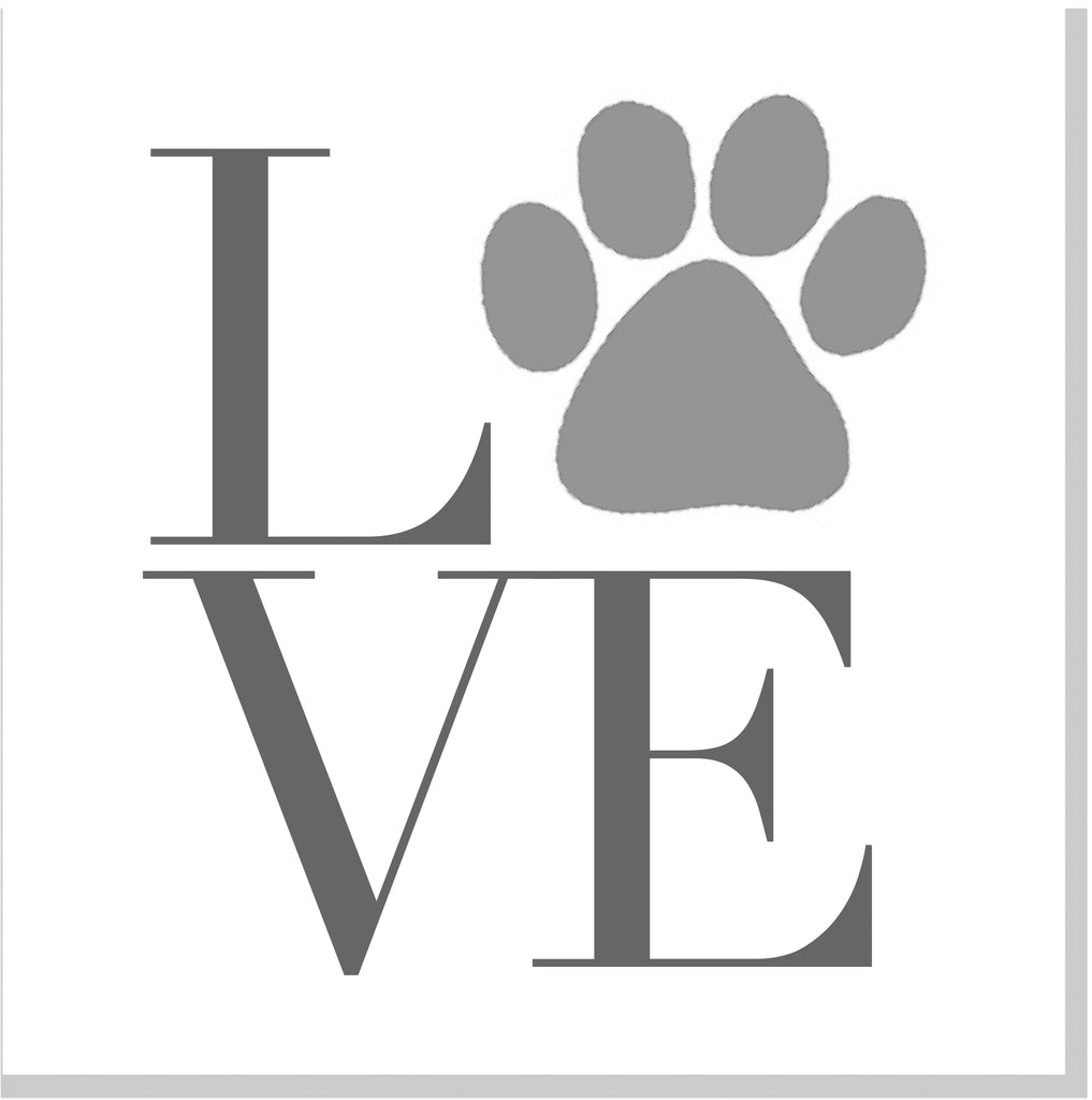 Paw Print LOVE square card
