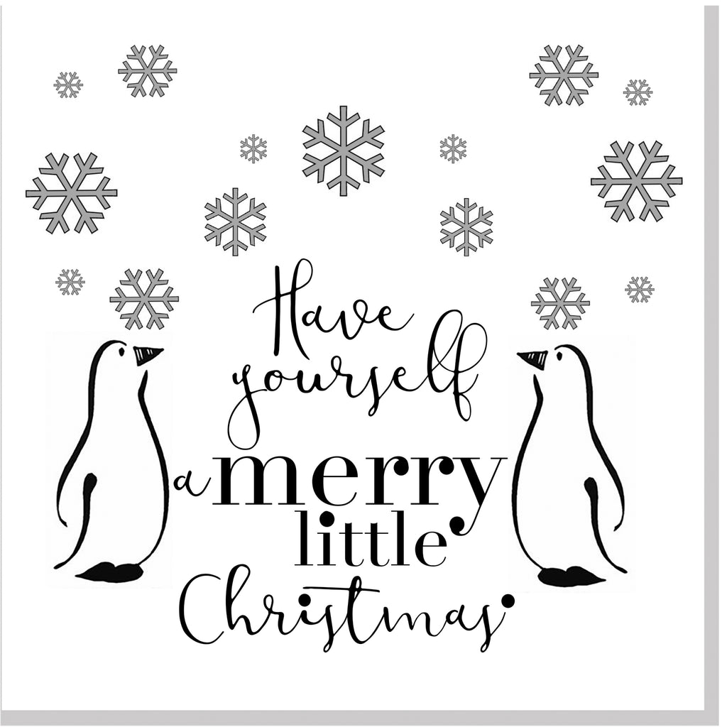 Penguin snowflake Christmas square card