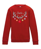 Personalised Christmas Reindeer Antlers Kids Sweatshirt