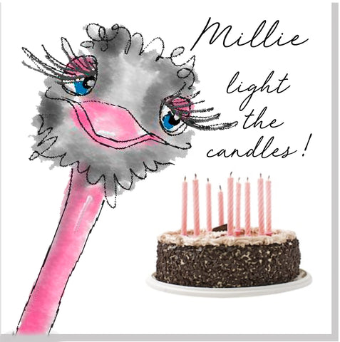 Personalised Ostrich light the candles square card
