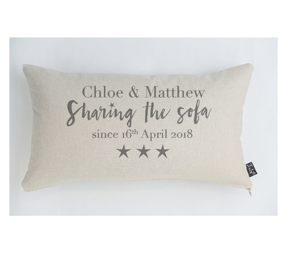 Personalised Sharing the sofa stars cushion