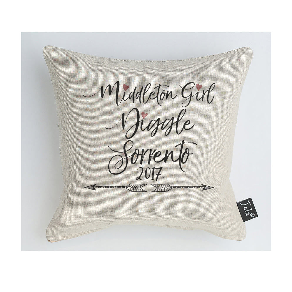 Personalised Arrows cushion