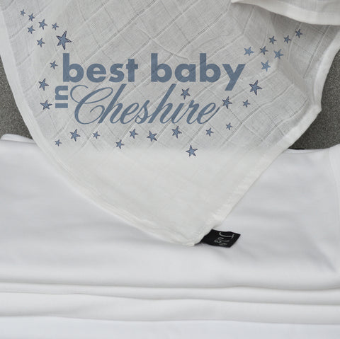 Personalised City Best Baby Muslin Square