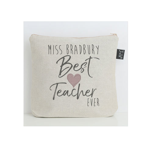 Personalised Best Teacher pink heart washbag