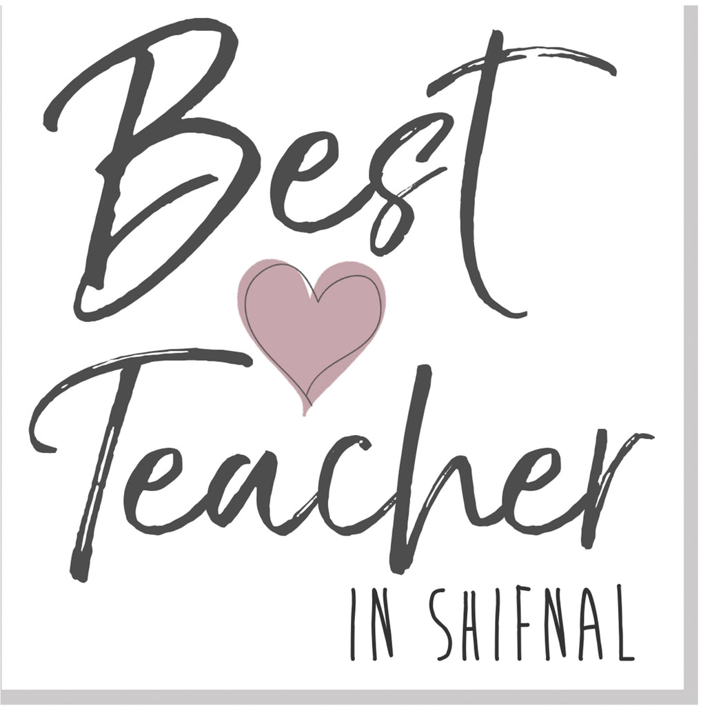 Personalised Best Teacher City pink heart square card