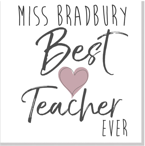 Personalised Best Teacher pink heart square card