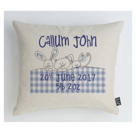 Gingham Bunnies Baby Boy Boudoir cushion