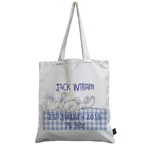 Personalised Baby Gingham canvas bag