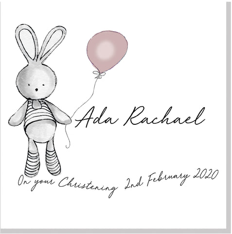 Personalised Christening Bunny card