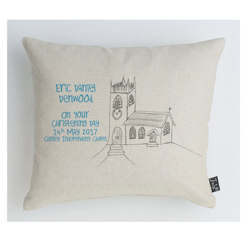 Christening Church Cushion personalised Boudoir Cushion