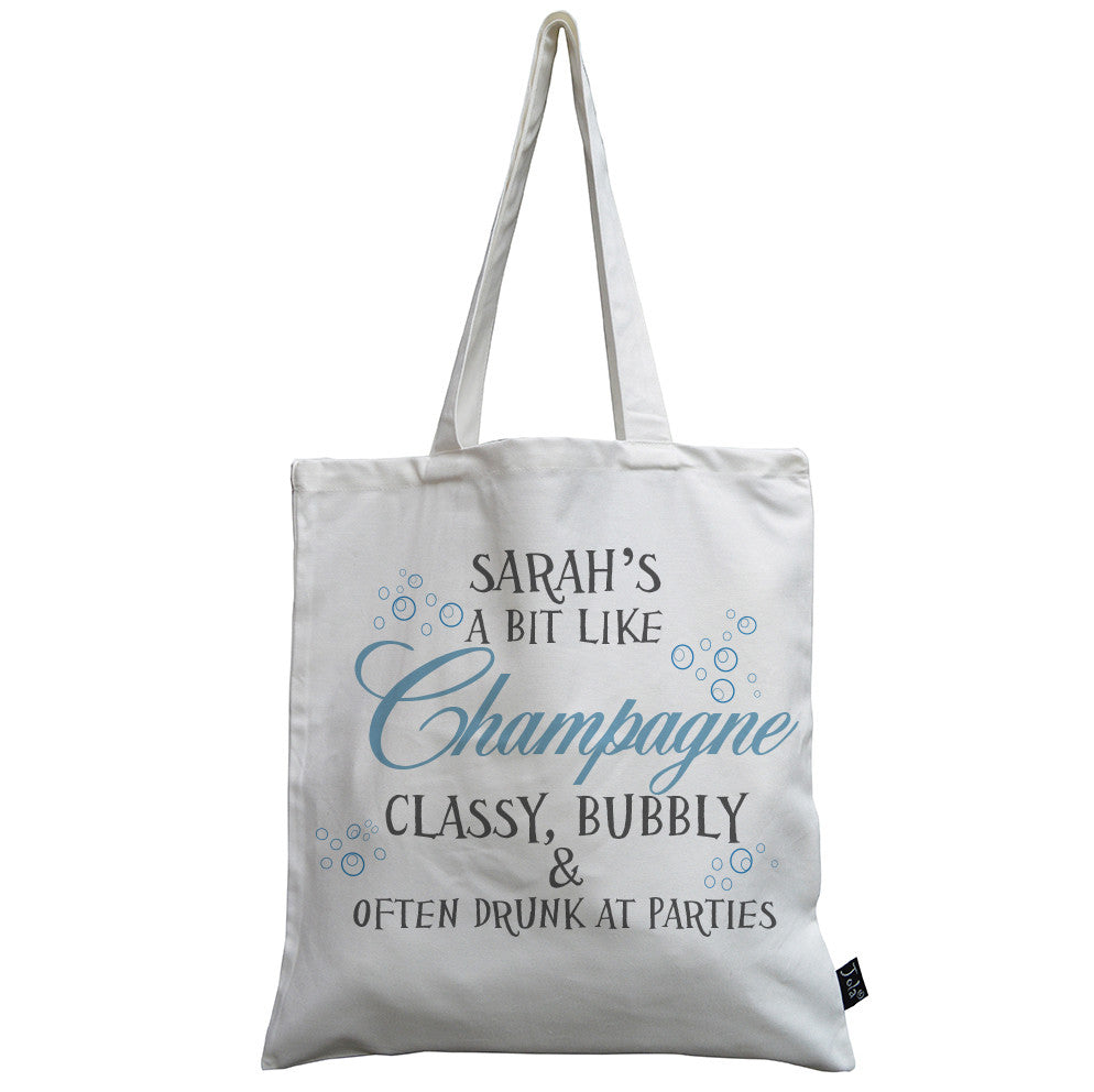 Personalised Classy and Bubbly Canvas Bag