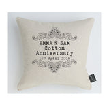 Personalised Anniversary Vintage Scroll cushion