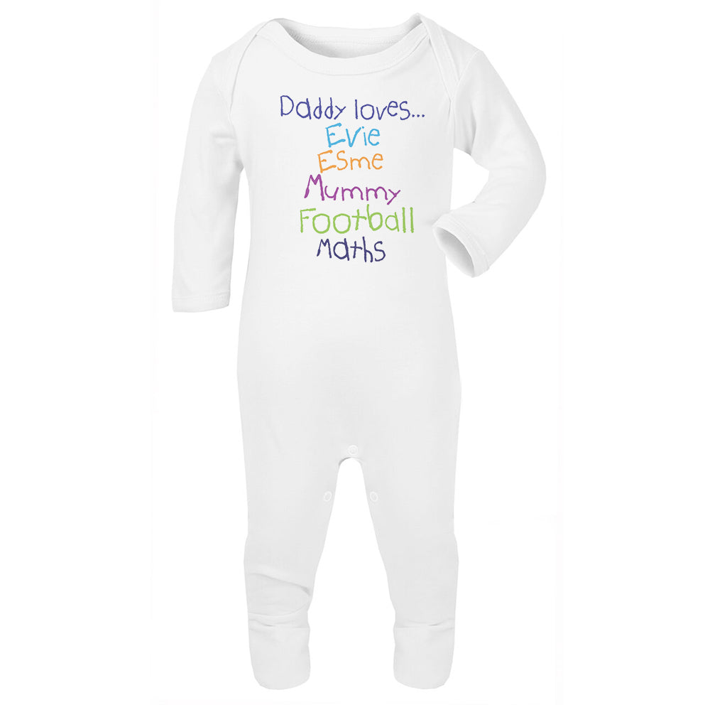 Personalised Daddy Loves Babygrow