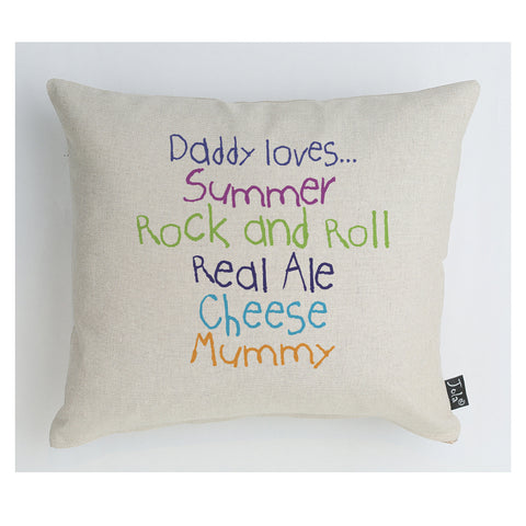 Personalised Daddy Loves cushion