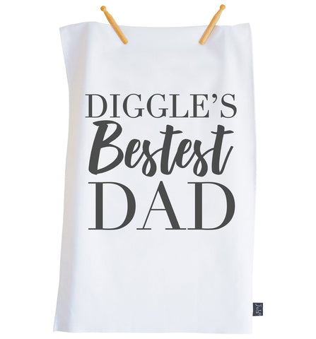 Personalised Bestest Dad City Tea Towel