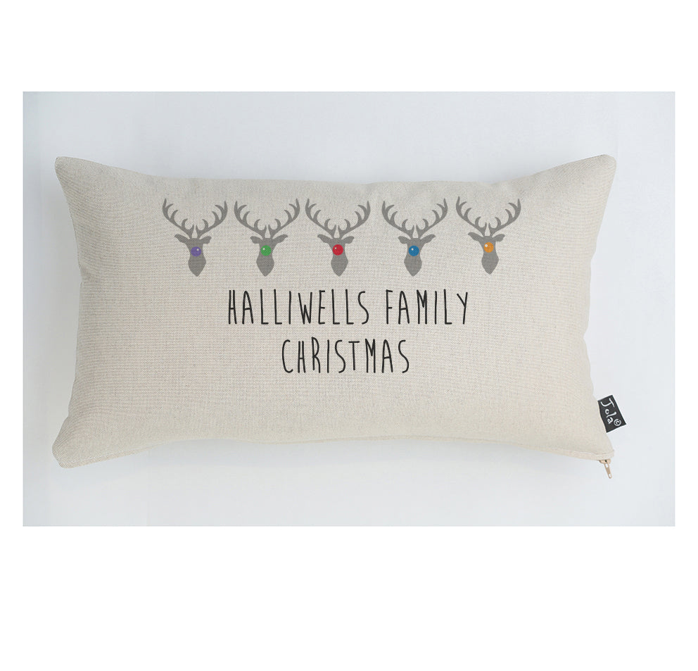 Personalised family Reindeer Christmas cushion
