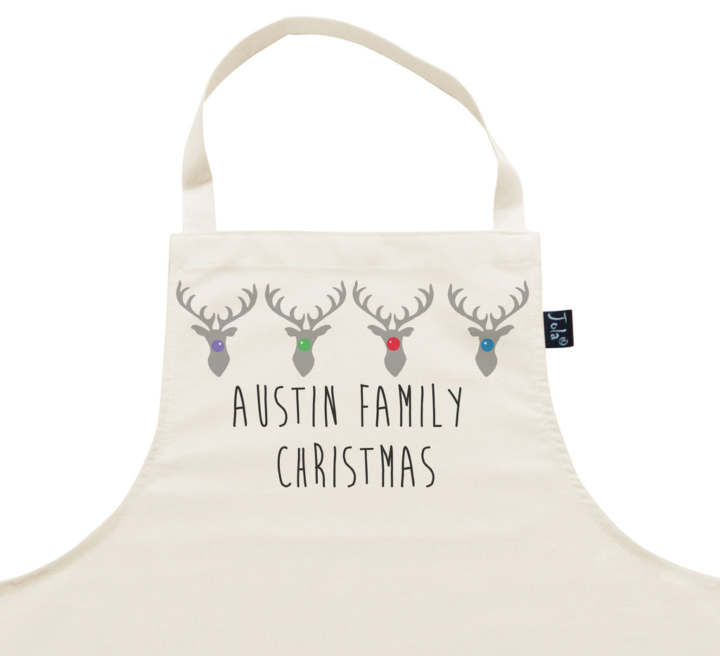 Personalised Family Reindeer Christmas Apron