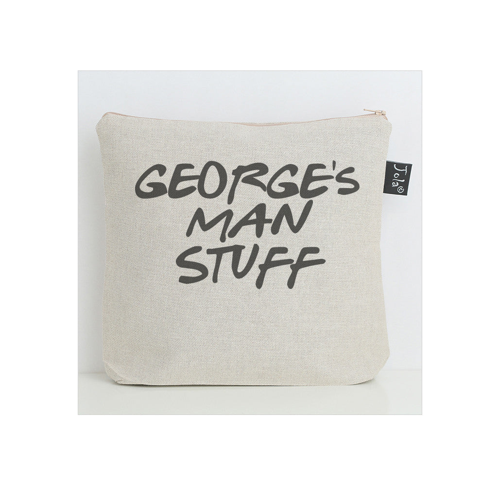 Personalised man stuff wash bag