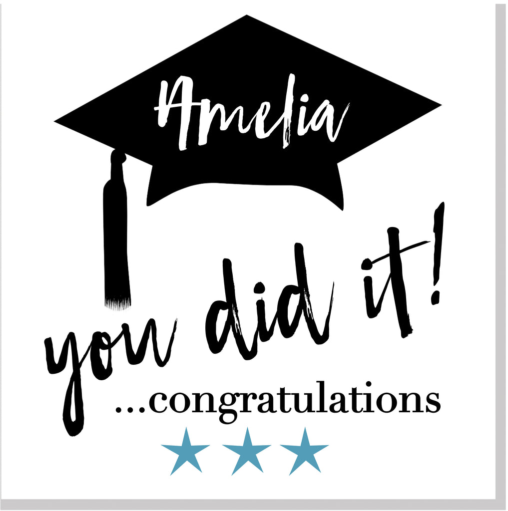Personalised Congratulations you did it square card