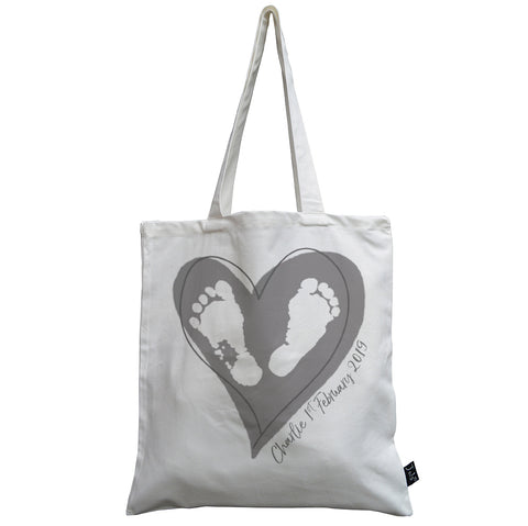 Personalised Baby Feet Heart canvas bag