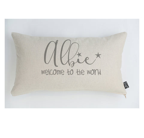 Personalised Baby Welcome to the world Cushion