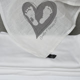 Personalised Baby Feet Heart Square Muslin